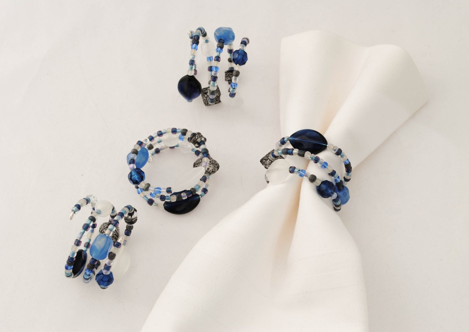 blue and white beaded napkin rings set of 4