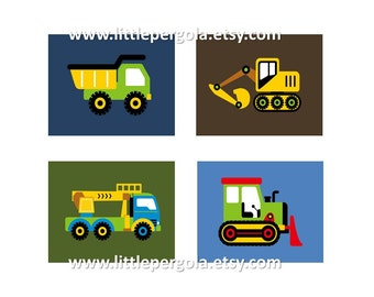 "Construction Nursery Decor // Construction Wall Art // Construction Art for Kids // Vehicle Art // Truck Art // 4-8""x10"" PRINTS ONLY"