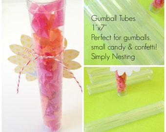6 Gumball Tubes, Plastic Gumball Tubes, Clear Cylinder Containers, 1 inch tubes