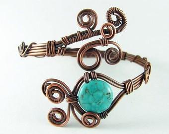 Copper Bracelet Wire Wrapped Bracelet Turquoise Copper Bracelet Wire Wrapped Jewelry Copper Bangle Wire Wrapped Bangle Copper Cuff Bracelet