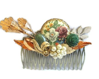 Autumn Wedding Hair Comb Jeweled Bridal Hairpiece  Accessories Green Brown Hairpin