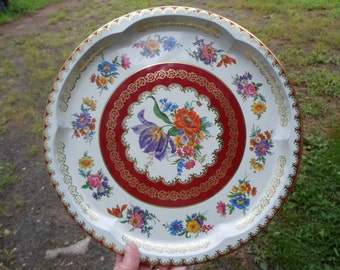 Vintage 1970s Metal Tray Round 11101 Daher Decorated Ware Made in England Floral Burgundy Flowers Tin Large Round Orange/Purple/Pink/Gold