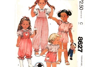 """McCall's 8627 Vintage Girl's Shorts, Blouse and Overalls Girl's Calamity Jane Size 3 Chest 22"""" Uncut - 3"""