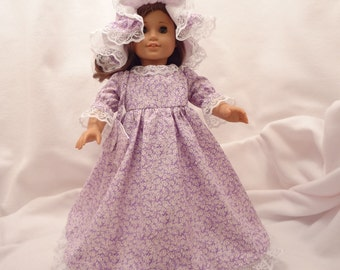 Lavender and white floral print, long dress for 18 inch dolls, with white lace trim.