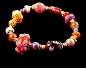 Fall Harvest Glass Bead Bracelet, 6 3/4 inches (17cm) Medium, Burgundy Red Pink Orange and Gold Mixed Handmade Beads on Stretch Elastic Cord