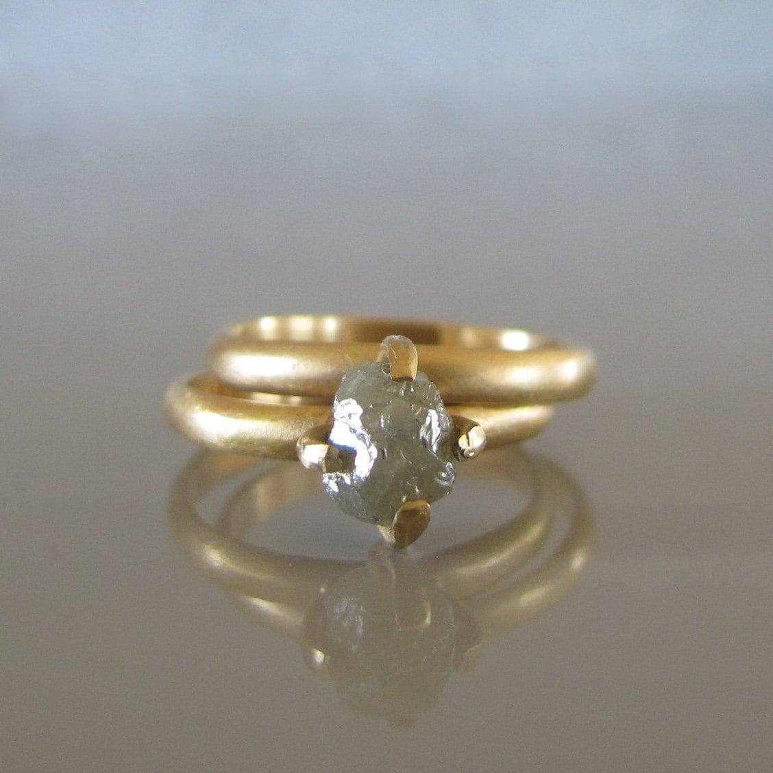 Rough Diamond Engagement Ring Set Raw Uncut Diamond Ring