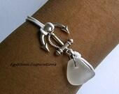 Sea glass bracelet. Friendship bracelet. Anchor bracelet. Beach glass bracelet.