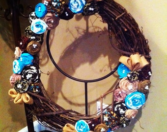 "Turquoise and Brown 18"" Rosette Wreath"