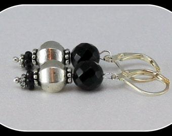 Black onyx earrings, silver earrings, hypoallergenic earrings, sensitive ears, black, silver, OOAK gifts for her
