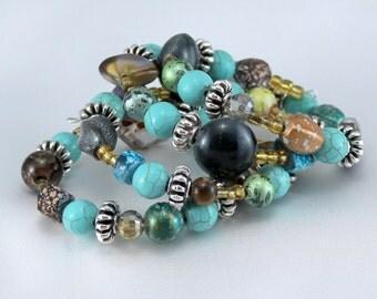 Memory wire bracelet, blue turquoise wrap bracelet,  OOAK Gift for Her, boho Jewelry, beaded bracelets