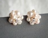 Pearl Cluster Wedding Earrings, Bridal Stud Earrings, Swarovski Crystal and Pearl Cluster Earrings, Statement Wedding Bridal Jewelry, TASMIN