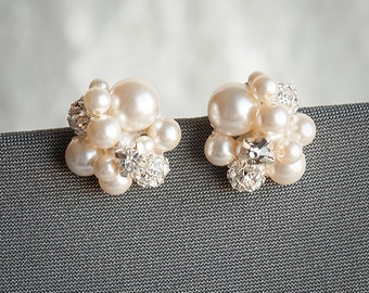 Pearl Cluster Wedding Earrings, Bridal Stud Earrings, Swarovski Crystal and Pearl Cluster Earrings, Statement Wedding Bridal Jewelry, TASMIN