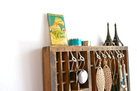 RESERVED for Dakota, jewelry display: vintage eighth-size letterpress drawer
