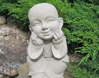 Boy Statue, Buddhist Monk, Pupil Of Buddha Garden Statue, Garden Decor, Oriental Garden, Japanese Garden Statues, Cement Statue, Child.