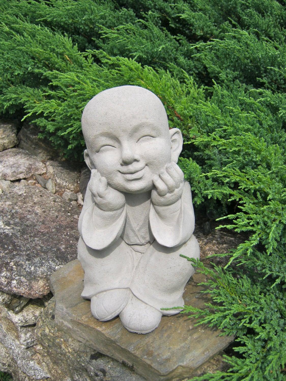 Boy statue buddhist monk pupil of buddha garden statue - Cement cloth garden ornaments ...