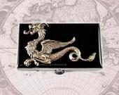 Pill Box Neo victorienne Dragon incrusté Rectangle Onyx noire peinte à la main, inspiré de la boîte en métal de Game of Thrones