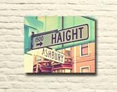 San Francisco Photography. Haight Ashbury street signs. city art. Vintage photo. retro home decor. mint blue. pale pink. canvas wall art.