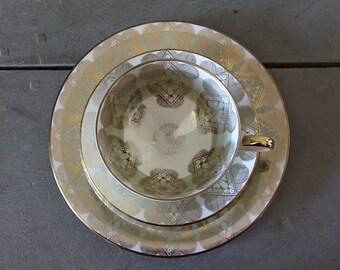 Striking Vintage Porcelain  Cup Saucer Plate with Gold Green Design