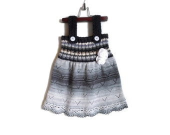 Knitted Girl Dress - Black and White, 4 - 5 years