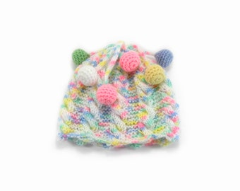 Hand Knitted Baby Hat - Light Pastels, 6 - 9 months