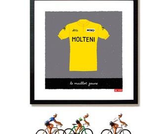 Cycling Art Print, Eddy Merckx, Yellow Jersey Print, Le Maillot Jaune, Tour de France