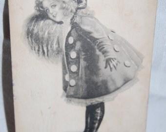 Antique Postcard Sepia Little Elf Girl on Skates Postmarked 1912   Epsteam