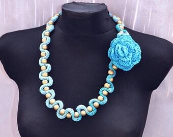 Blue  crocheted necklace handmade lovely chic elegant