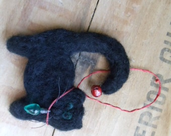 Black Wool Cat Holiday Ornament Needle Felted Decor