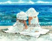 "Girl Friends, Sisters on Beach, Blue Sea Ocean, White Hat / Dress, Children Watercolor Painting Print, Wall Art, Home Decor, ""Beach Buddies"""