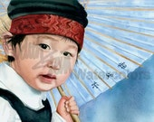 "Chinese Girl with Umbrella, Traditional Dress, Red Head Band, Jumper, Children Watercolor Painting Print, Wall Art, Home Decor, ""Cadi Lady"""