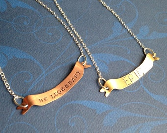 Custom Hand Stamped Aluminum, Copper, or Brass Banner Necklace- Choose Your Phrase and Font