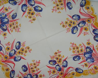 Beautiful Royal Blue Tulip and Golden Rod Yellow Dianthus Flower  Pattern Table Cloth
