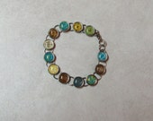SALE Handmade Brad Bracelet - Brown, Turquoise, Green and Yellow --7.5 inches--a great gift