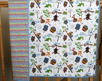 """30% SALE Riley Blake Hooty Hoot Baby or Toddler Boy Quilted Blanket--39"""" x 47"""""""