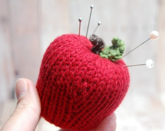 Apple Pin Cushion, Red Wool Apple Pin Cushion, sewing accessory, sewing notion, Wool Pin cushion, Sewing Notions, Red Apple Decor