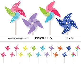 Pinwheel clipart  - Digital clip art  for invitations, scrapbooking-  PNGs - Clipart Designs INSTANT DOWNLOAD 469
