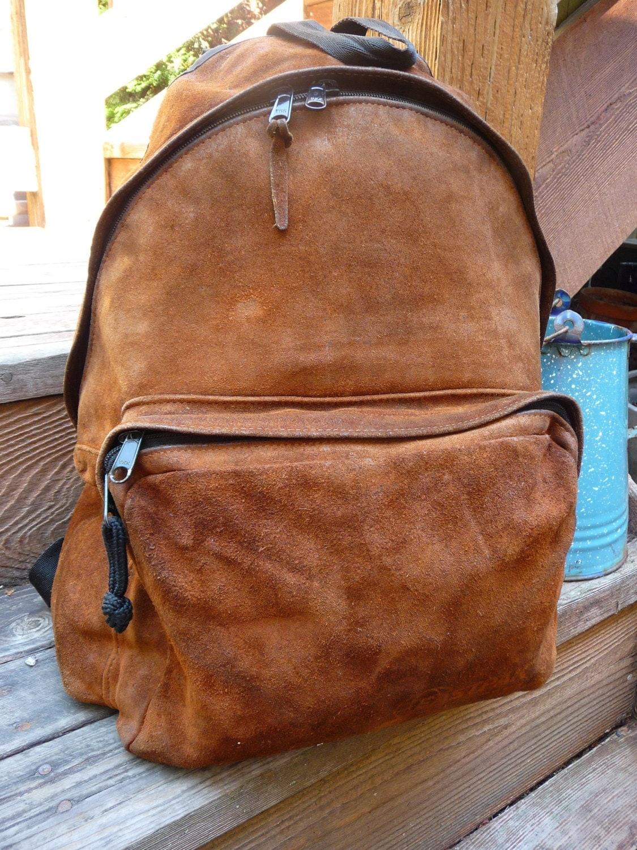 Vintage Eastpak Distressed Leather Backpack Eastpak Rustic