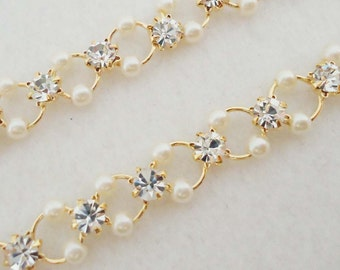 A-90. 20cm Gold plated, Pearl and Cubic Zirconia Chain