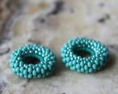 beaded bead pair- matte teal spacers- fits European charm bracelet