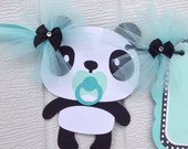 Panda banner, gender neutral baby shower banner, baby shower banner, aqua, black and white