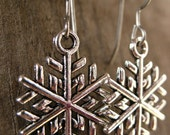 Titanium SnowflakeEarrings, Antiqued Silver Snowflake Charms on Hypoallergenic Titanium Ear Wires