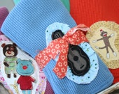 Plum, Blueberry, Marmalade or Kale  Infant Thermal  Receiving Blanket with Various Frayed Applique Patches Detaild With Ruffle Trim