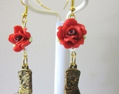 Cowboy Boot Earrings Western Jewelry Gold Red Rose