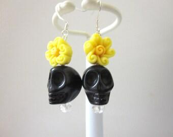 Sugar Skull Earrings Black Yellow Flower Day Of The Dead Jewelry