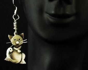 Sterling Silver Cat Earrings - Camille