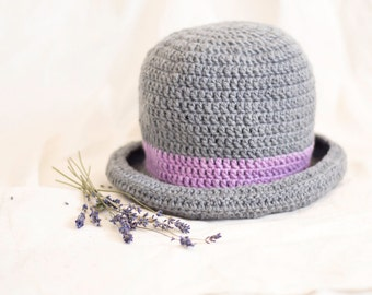 Pure Wool Grey Crochet Brim Hat with Lavender Hatband