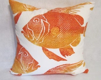 Orange Fish Pillow Cover in P Kaufman Fabric