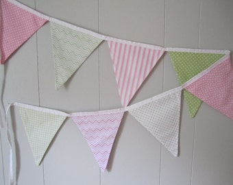Fabric Bunting - Pink and Green - READY TO SHIP
