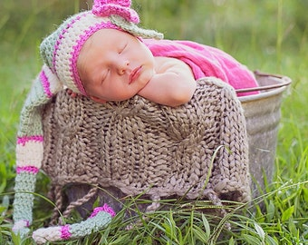 Elf Hat for Newborn Whimsical Green Pink and White with Crocheted Flower
