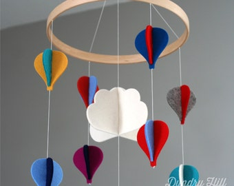 100% Merino Wool Felt Baby Mobile - Eco-Friendly - Rich, Lightfast Colors - Heirloom Quality - Multi-Colored Hot Air Balloons
